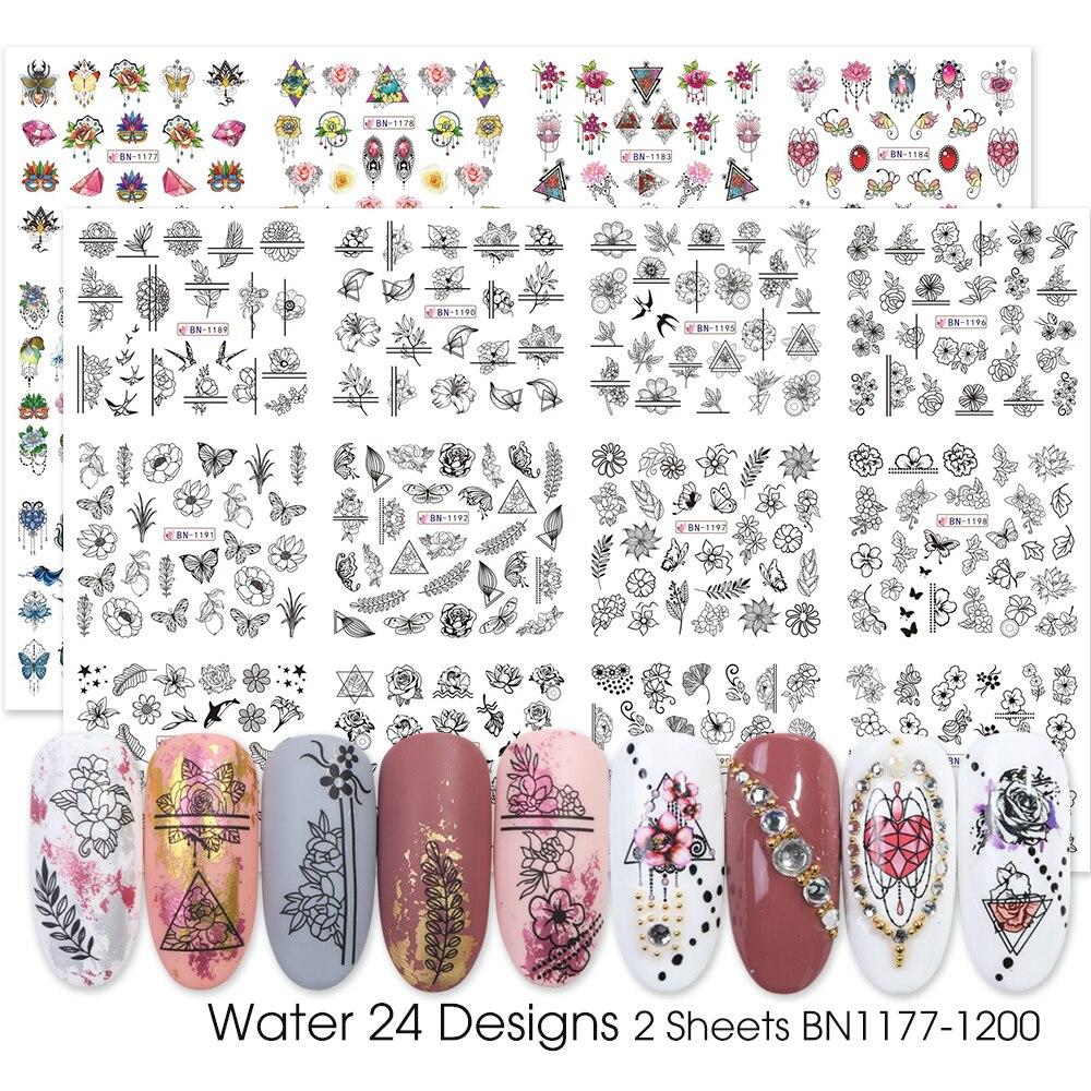 Image 4 - 24 шт акварельные цветочные наклейки для ногтей набор Фламинго Письмо Дизайн гель маникюр декор вода слайдер фольга CHSTZ683 706 1-in Стикеры и наклейки from Красота и здоровье on AliExpress