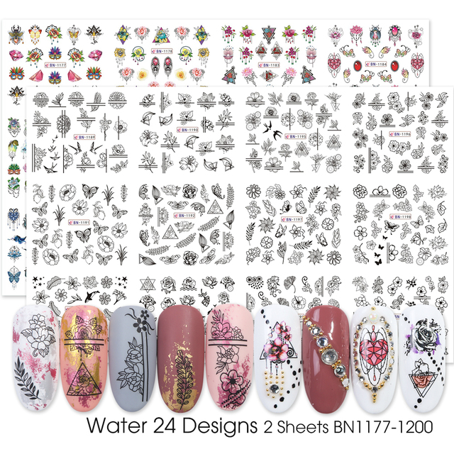Watercolor Flower Nail Stickers