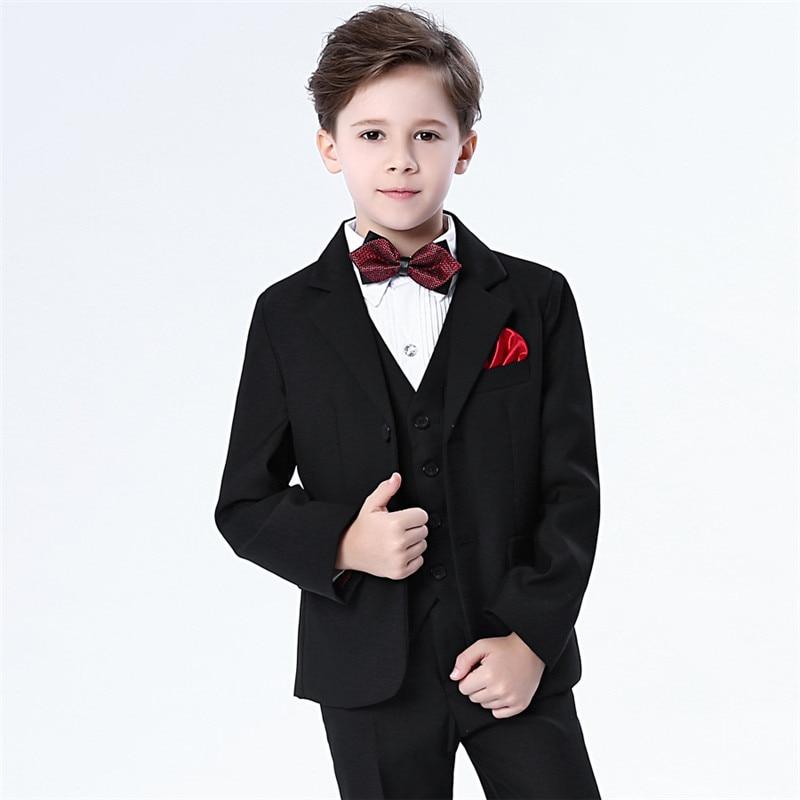 2018 New Kids 5PCS Vests Bow Tie Shirt Pants Coats Wedding Blazer Suit Boys Formal Tuxedos