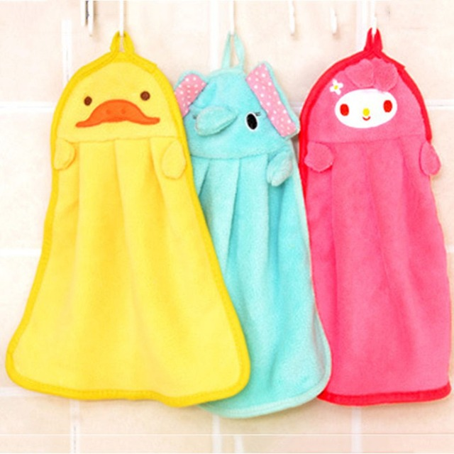 cartoon animal kitchen hand towel bath hanging wipe soft towel cute candy coral velvet towels - Kitchen Hand Towels