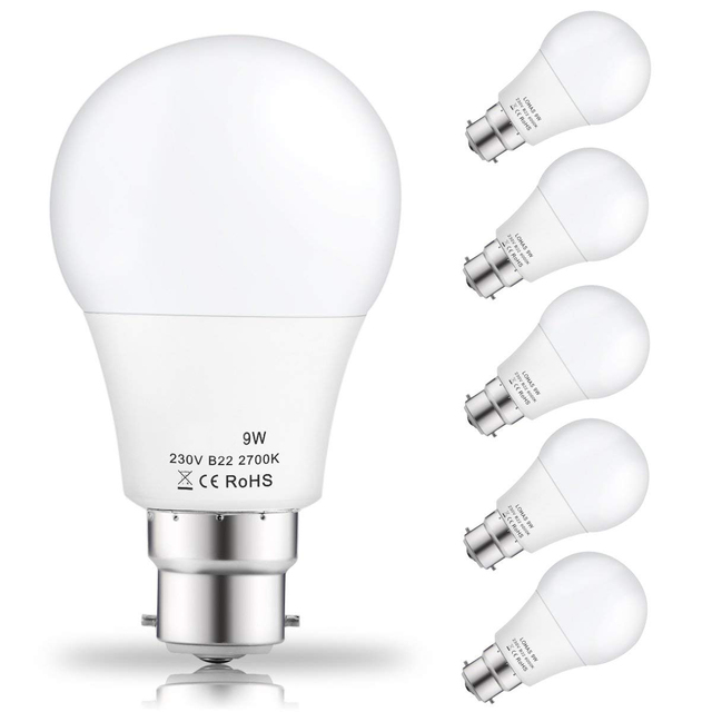 9watt A60 B22 Led Bulbs 60watt Incandescent Equivalent Day White 6000k 810lm Non Dimmable Bayonet Light 5pack