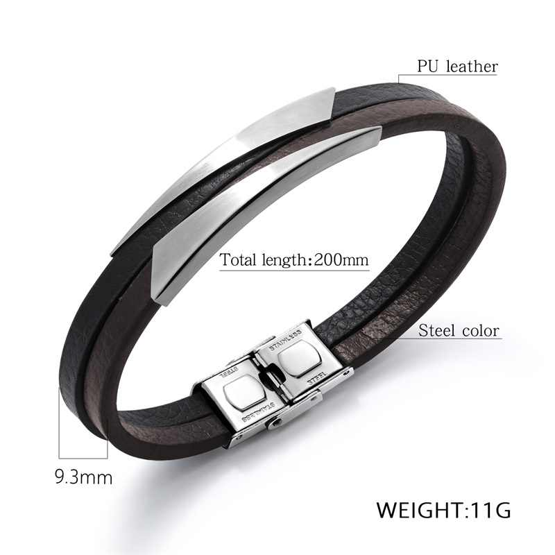AZIZ BEKKAOUI New Men Bracelets Black Punk Leather Bracelets Unique Shape Stainless Steel Bracelet Male Bangle