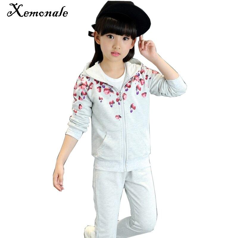Xemonale Children Clothing Girls Sport Suit 3pcs Sports Wear Fashion Long Sleeve Hoodies+pants Tracksuit Kids Costume Set Suits цена