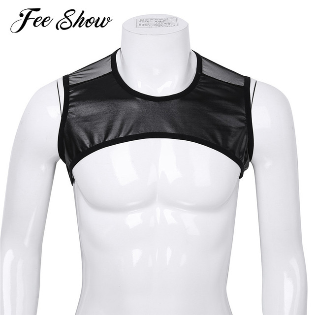 0b3d3393c35991 Gay Mens Fashion Faux Leather Patchwork Sleeveless Sheer Mesh Muscle Half Tank  Top Vest Harness Clubwear Stage Costume Crop Tops