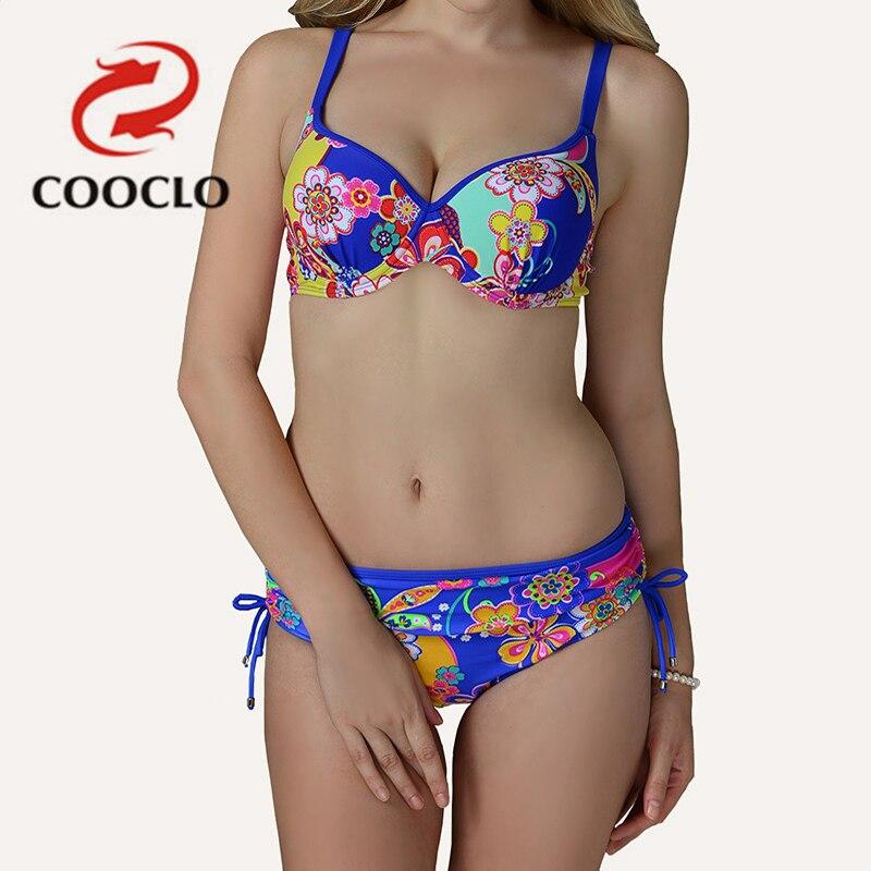 2bfe3b99f6db4 COOCLO الصيف مثير المرأة بيكيني 2019 جديد وصول زهرة طباعة ملابس السباحة  زائد حجم البيكينيات مجموعة ريترو رفع ملابس السباحة الاستحمام دعوى