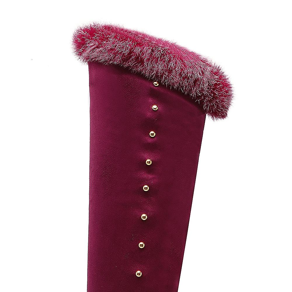 Brand New Quality Winter Black Red Women Thigh High Fur Platform Boots Lady Rivets Shoes Super Heels ET18 Plus Big size 10 43
