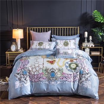 4Pcs 2018New Technology Digital Printing luxury bedding sets queen king size duvet Sheet  pillowcase bedclothes