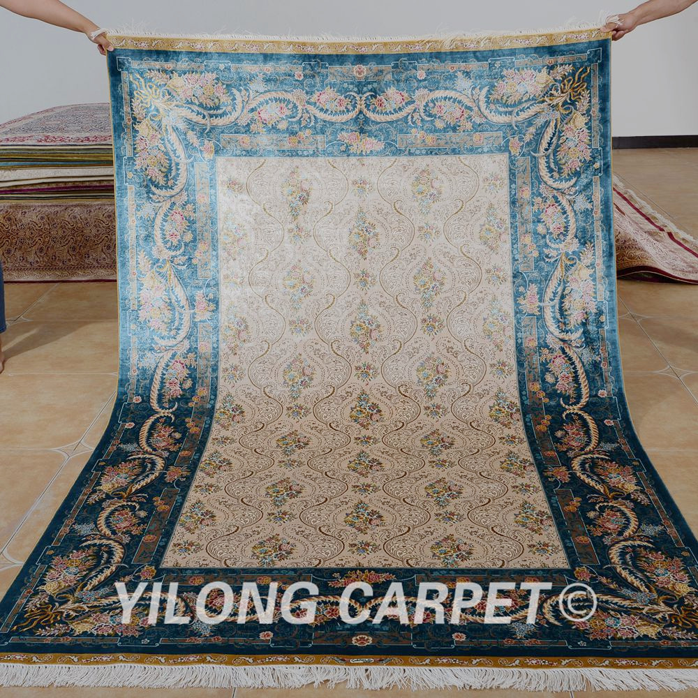 Yilong 5'x7.5'  oriental silk carpet vantage hand knotted traditional - Home Textile