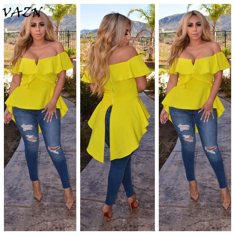 VAZN Special Design 2018 New Popular Casual Style Women T shirt Solid Slash Neck Ruffle Short Sleeve Bodycon Tee L0203