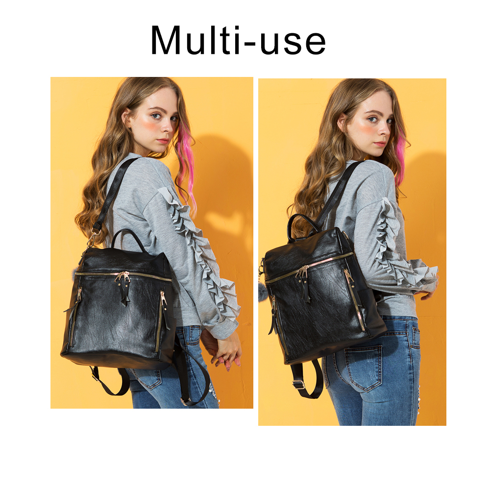 Herald Fashion Simple Backpack Women PU Leather Backpack For Teenage Girls School Bags Fashion Vintage Solid Black Shoulder Bag  1