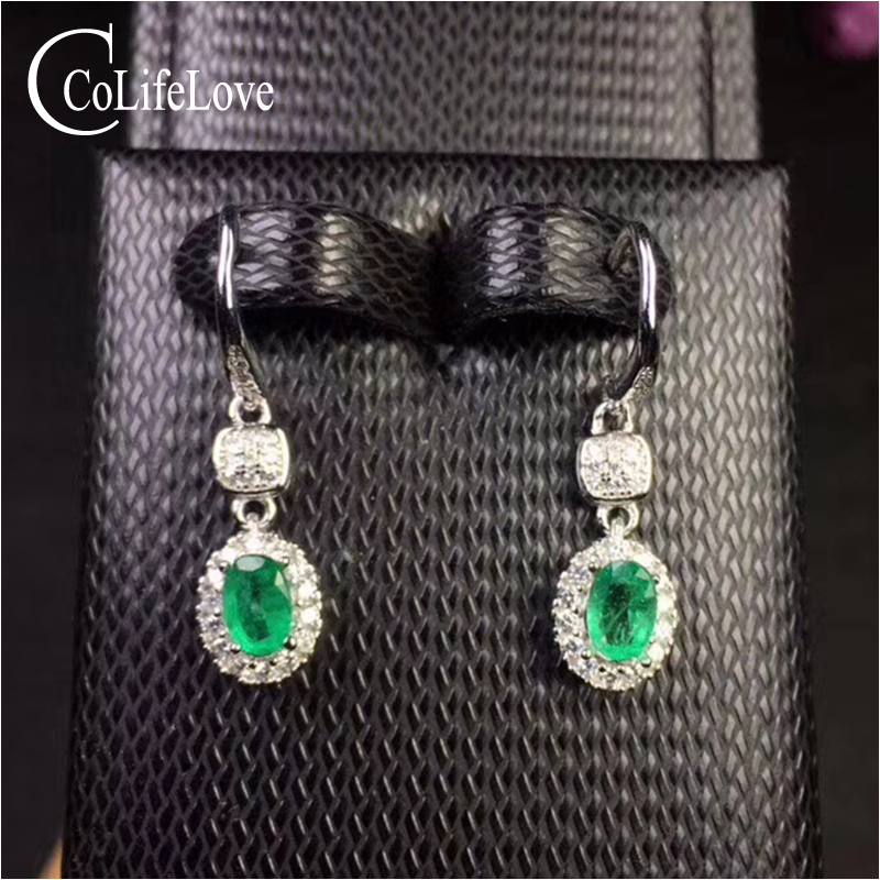 100% real natural emerald drop earrings for wedding 4 mm * 6 mm Zambia emerald silver earrings 925 silver emerald jewelry simple design emerald stud earrings 4 mm 6 mm natural i grade emerald earrings classic 925 silver emerald earrings for woman