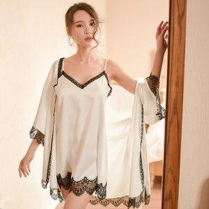 Image 3 - Sinunow marka kobiet sleep & salon dwa pic satyna jedwabna bielizna nocna kobiet koszule nocne Sexy bielizna nocna mini koszula nocna szlafrok zestaw