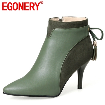 EGONERY Newest Elegant Shoes Women Super High Thin Heel Pointed Toe Zipper butterfly-knot Winter Outside Warm Office Ankle Boots - discount item  42% OFF Women's Shoes
