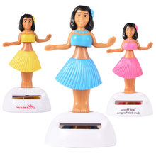 Saleaman Solar Powered Dancing Hula Girl Swinging Bobble Toy Gift For Car Decor Novelty Dancing Solar Girls Toys For Children(China)