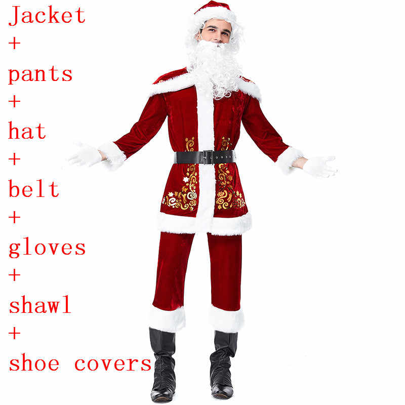 ... New Year Christmas Cosplay Costumes Santa Claus Deluxe Velvet Red  Jacket Dresses White Beard Wig For ... 6a32a1b4f