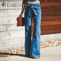 Sexy High Waist Casual Loose Jeans 2018 Women Fashion Flare Pants Bell Bottom Blue Denim Trousers Autumn Lady Jeans