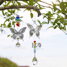 H&D 20mm/38mm Chakra Handmade Butterfly Crystal Ball Prism Rainbow Maker Hanging Sun Catcher Christmas Ornaments Wedding Decor