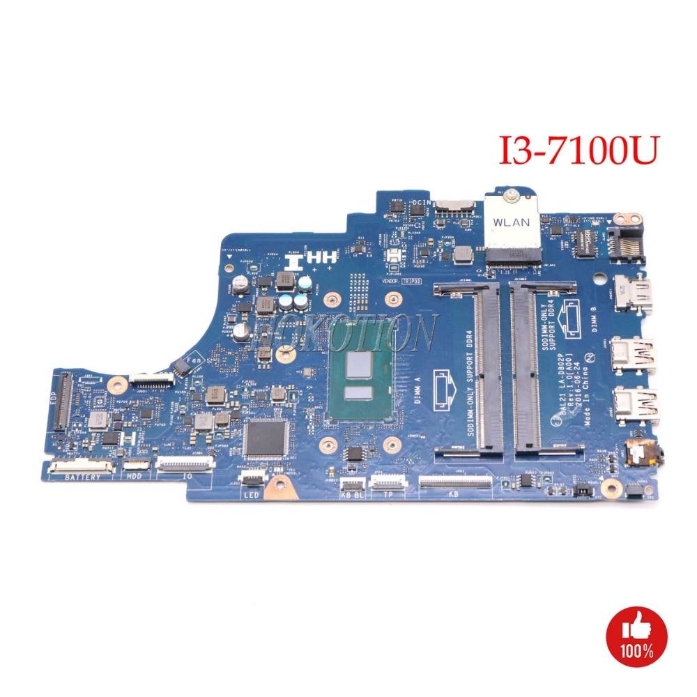 NOKOTION BAL21 LA-D802P Laptop motherboard For DELL Inspiron 15 5567 I3-7100U DDR4 Full workNOKOTION BAL21 LA-D802P Laptop motherboard For DELL Inspiron 15 5567 I3-7100U DDR4 Full work