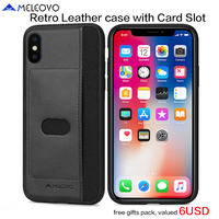 Original Meleovo Brand Luxury PU Leather Back Case With Card Slot Vintage Hard PC Case For