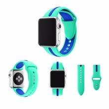 hot deal buy new fashion sport silicon band for apple watch two colors strap 38mm for apple watch 42mm band for iwatch replacement official