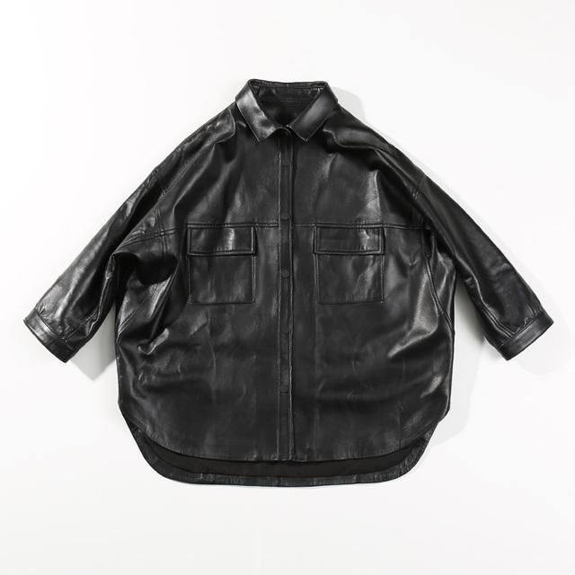 Leather Jacket Genuine Sheepskin 2019 Autumn Women Fashion Clothes Ladies Clothing Streetwear Oversized Ladies Jackets And Coats