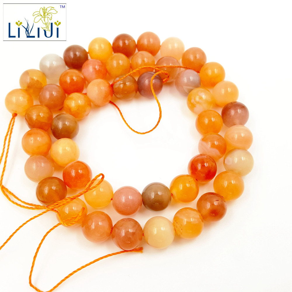 LiiJi Unique Natural Stone Carnelian Loose beads 8mm approx 39cm DIY Jewelry Making bracelet necklace