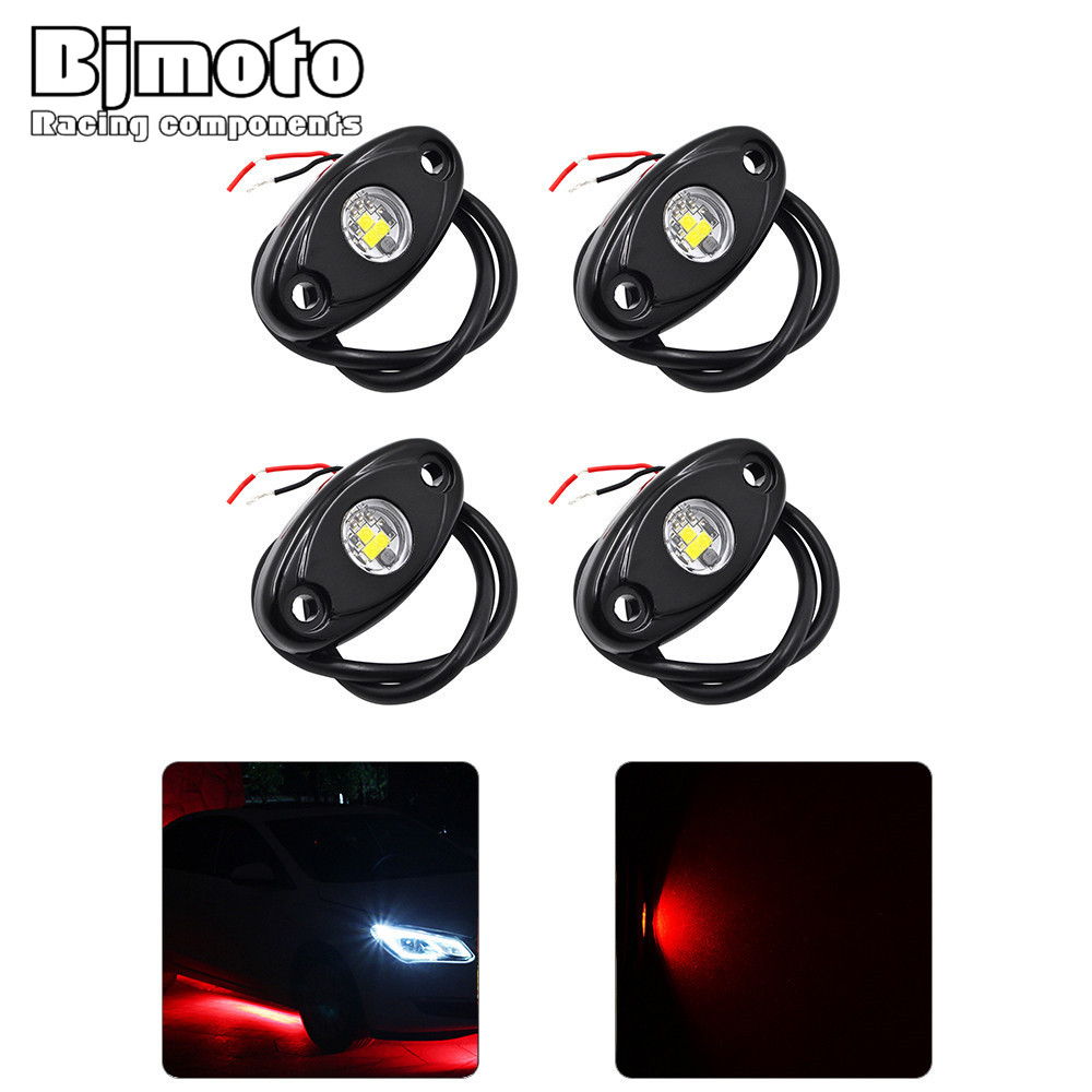 ROL-001-RD*2 9W Led Rock Lights Kit Waterproof Off Road 4 Pcs Atmosphere Lamp Kit for Motorcycle Truck Car ATV Off-Road Boat