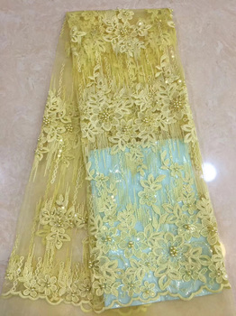 (5yards/pc) high quality African tulle lace yellow French net lace with wonderful embroidery and beads sequins for party FLZ008
