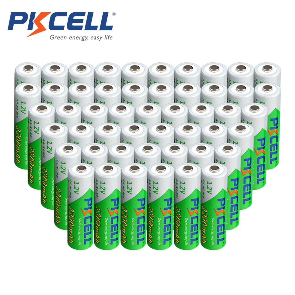 50Pcs/lot PKCELL Battery AA Ni-MH 1.2V 2200mAh AA Rechargeable Battery Batteries Low Self-Discharge 2A Bateria Baterias