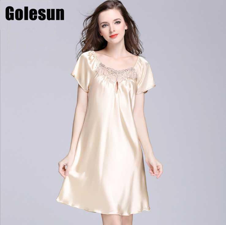 Summer Women silk sleeping dress sexy silk   nightgowns   short sleeves   sleepshirts   lady lounge women's clothings 8598
