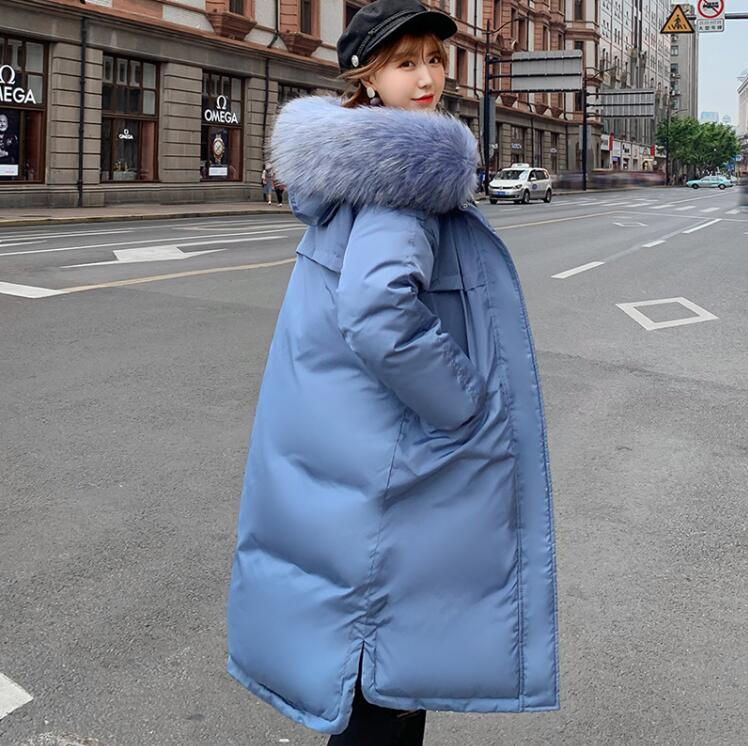 Two-sided wear women parka women long section thick women parka fur coat loose large fur collar winter coat cotton coat(China)