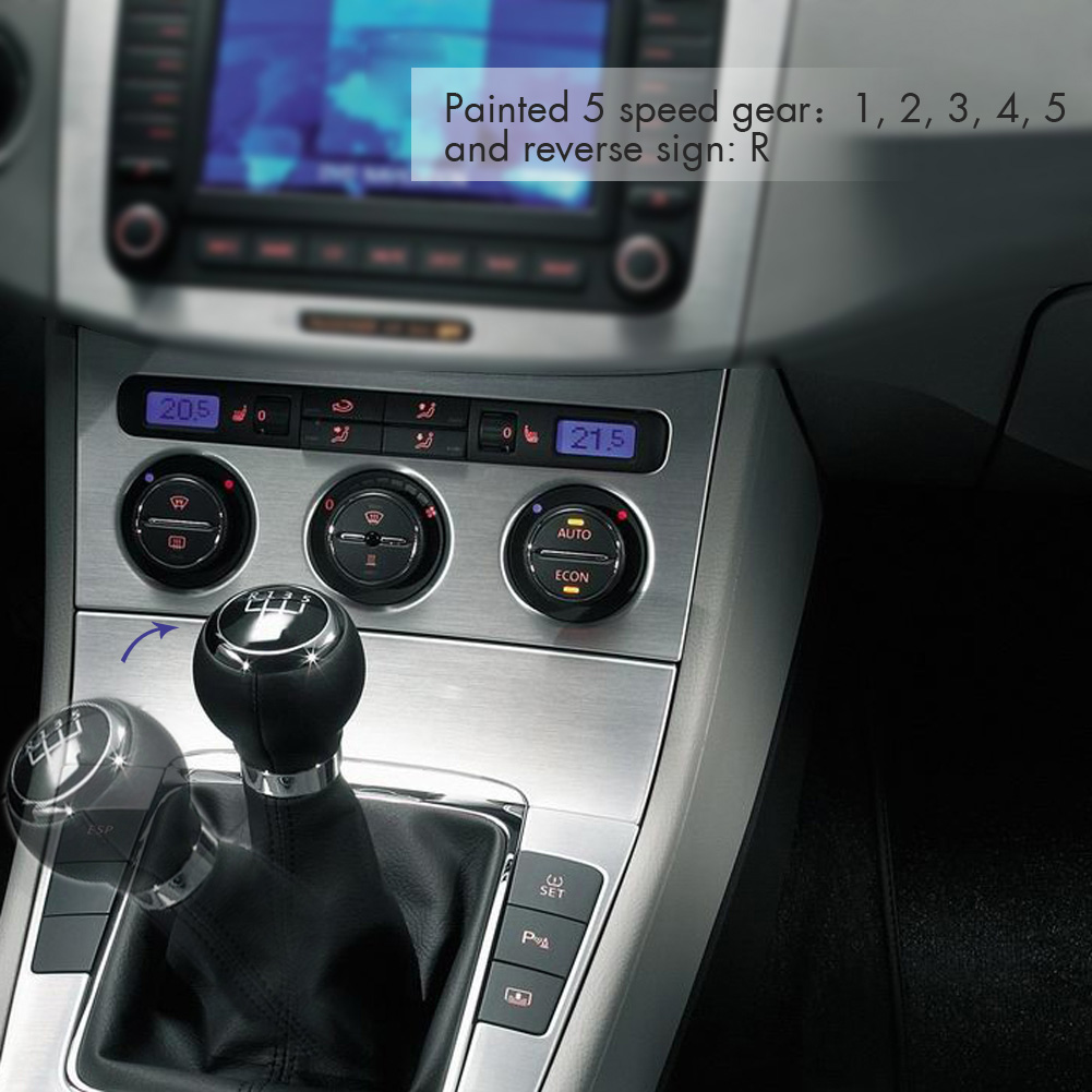 Car Style Black 5 Speed Gear Shift Knob Stick Boot Gaiter Frame for VW Passat B6