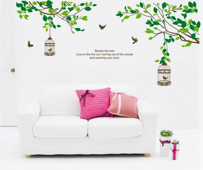 Tree Branch Bird Cage Kids Removable Home Decoration Wall Stickers