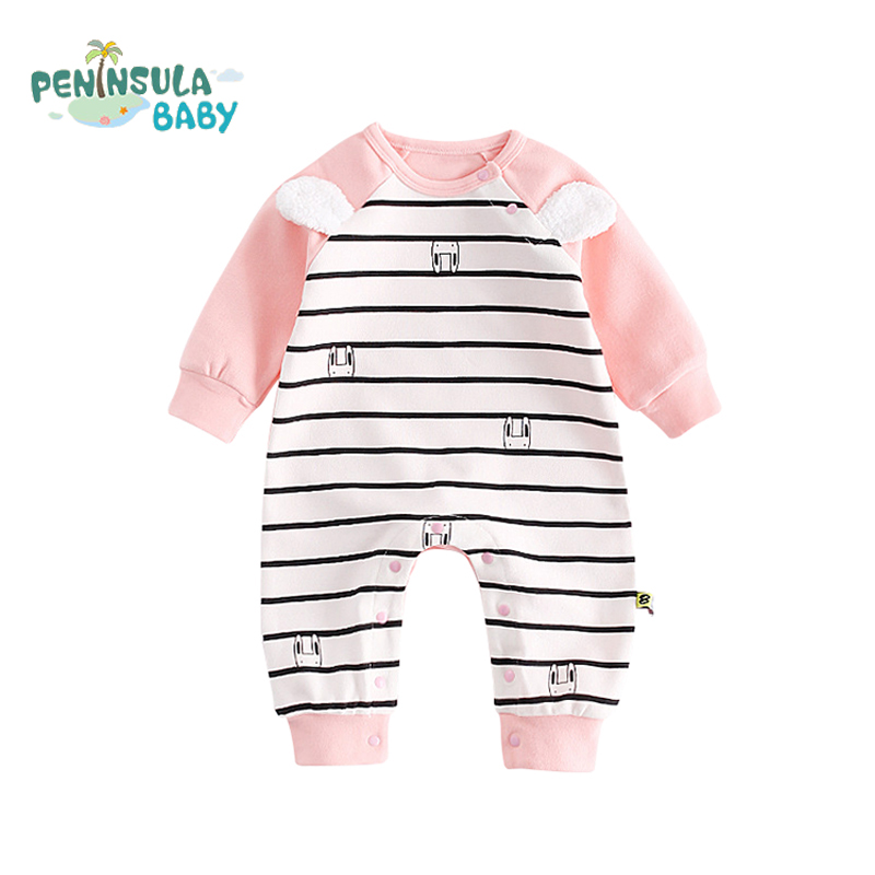 Cotton Cartoon Panda Baby Rompers Toddler Warm Outfits Coverall Striped Baby Boys Girls Products Long Sleeve Newborn Clothing maggie s walker baby rompers outfits boys long sleeve banana luxury organic cotton climb clothes toddler girls roupa infantil