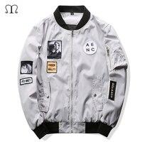2016 New Men Bomber Jacket Hip Hop Casual Patch Designs Slim Fit Pilot Bomber Jacket Coat