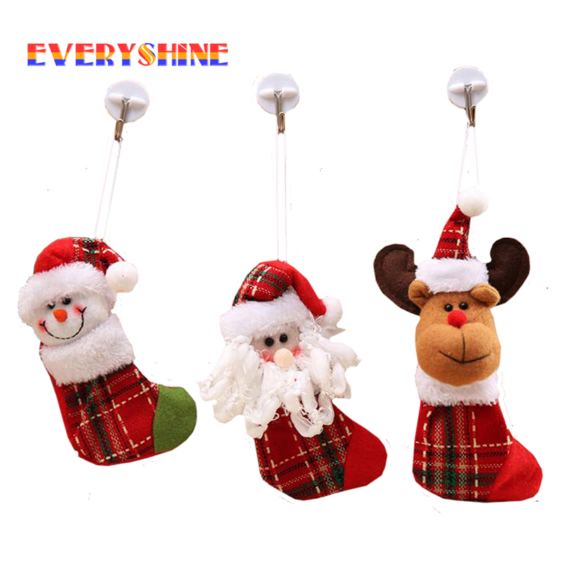 3pcs/lot Christmas Santa Claus Snowman Reindeer Stocking Pendants Christmas Tree Hanging ...