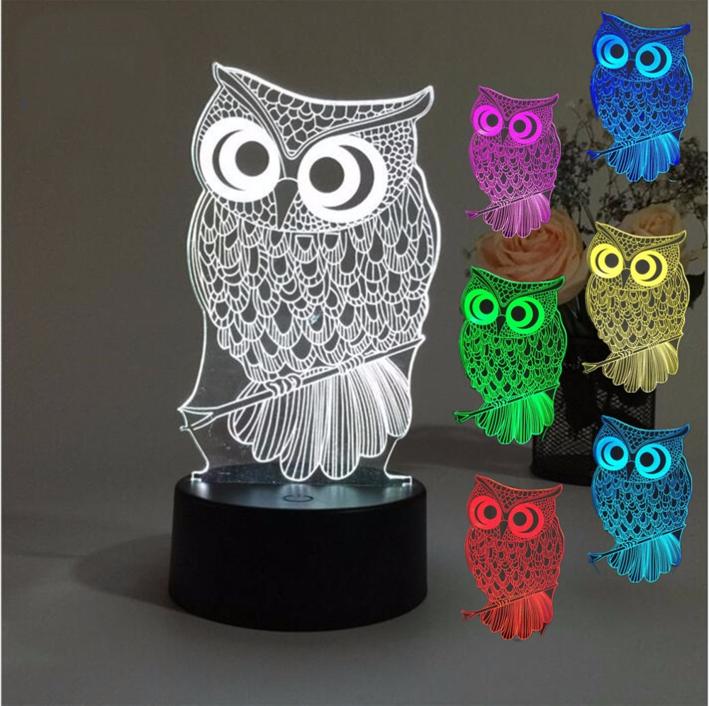 Night owl reading lamps - 3d Owl Effcial Illusion Lamp Baby Deco Projector Table Lamp Night Lighting 7 Color