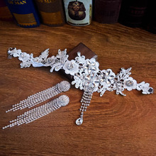 цена на Top quality lace choker white hollow with flower rhinestone on the suitable for bride necklace earrings wedding jewelry sets B31