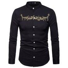 Мужская рубашка с вышивкой и стоячим воротником, осень, Новая повседневная мужская рубашка на пуговицах, роскошная брендовая рубашка с золотыми цветами, мужская рубашка XXL