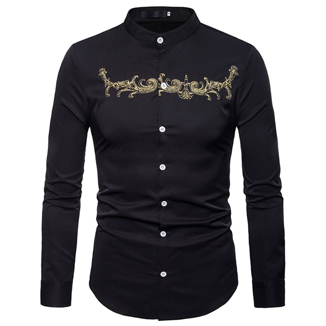 Stand Collar Embroidery Shirt Men 2018 Autumn New Casual Button Down Mens  Dress Shirt Luxury Brand Gold Flower Chemise Homme XXL de8adfd27729d