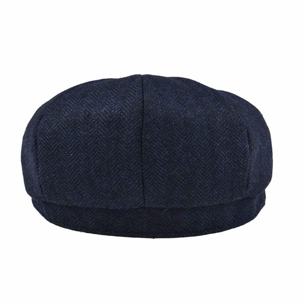 BOTVELA lana Tweed Newsboy gorra espiga hombres mujeres Gatsby Retro sombrero conductor gorra plana negro marrón verde azul marino 005