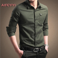 2018 Spring Men S Shirt Men S Long Sleeved Cotton Shirt Youth Business Solid Color Shirt