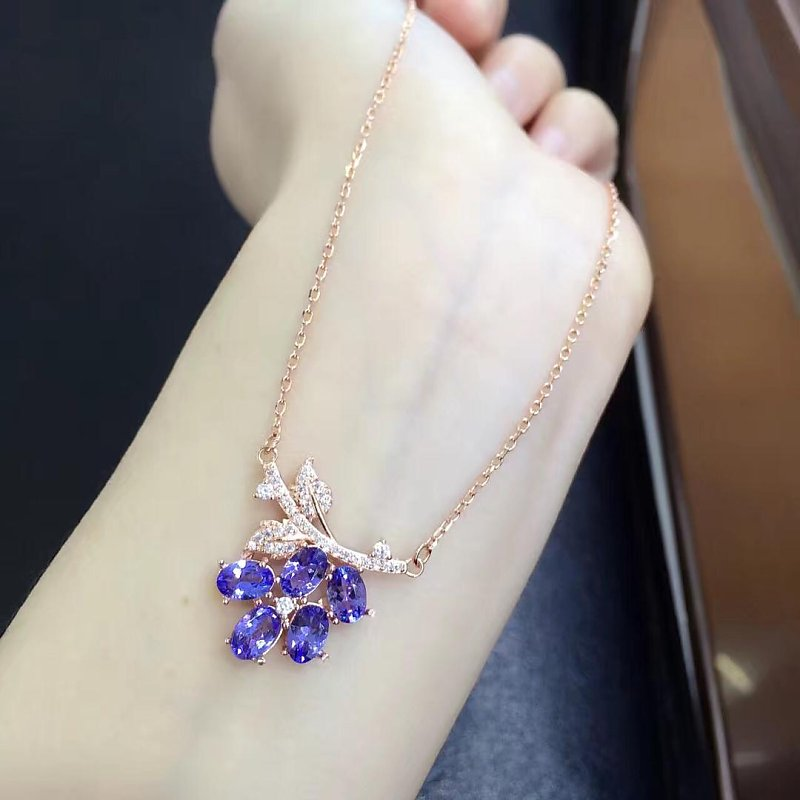 2017 Sale Collier Qi Xuan_Fashion Jewelry_Blue Stone Necklaces_Rose Gold Color Flower Blue Necklaces_Factory Directly Sales