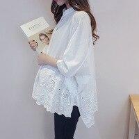 Maternity Clothing White Blouse Elegant SpringAutumn Pregnant women Loose O Neck Shirt Single Breasted Pregnancy Ladies Tops