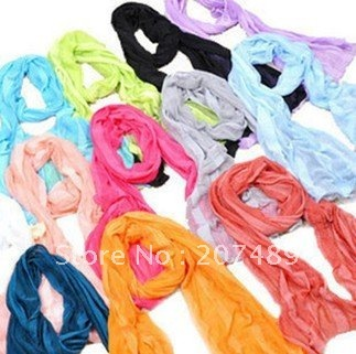 Wholesale retail Fashion Women Thin Soft Cute Candy Shawl Scarf Neck Wrap multi colors pick Long Girl Scarf Shawl Wrap