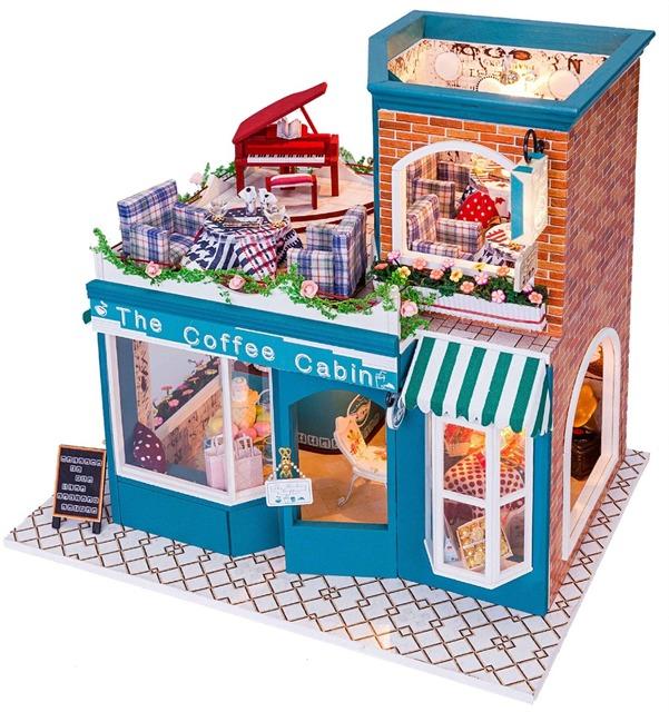 Casa de Boneca De Madeira DIY 3D Handmade Miniatura caixa + Música + Voice-activated luz Artesanal kits modelo de Construção