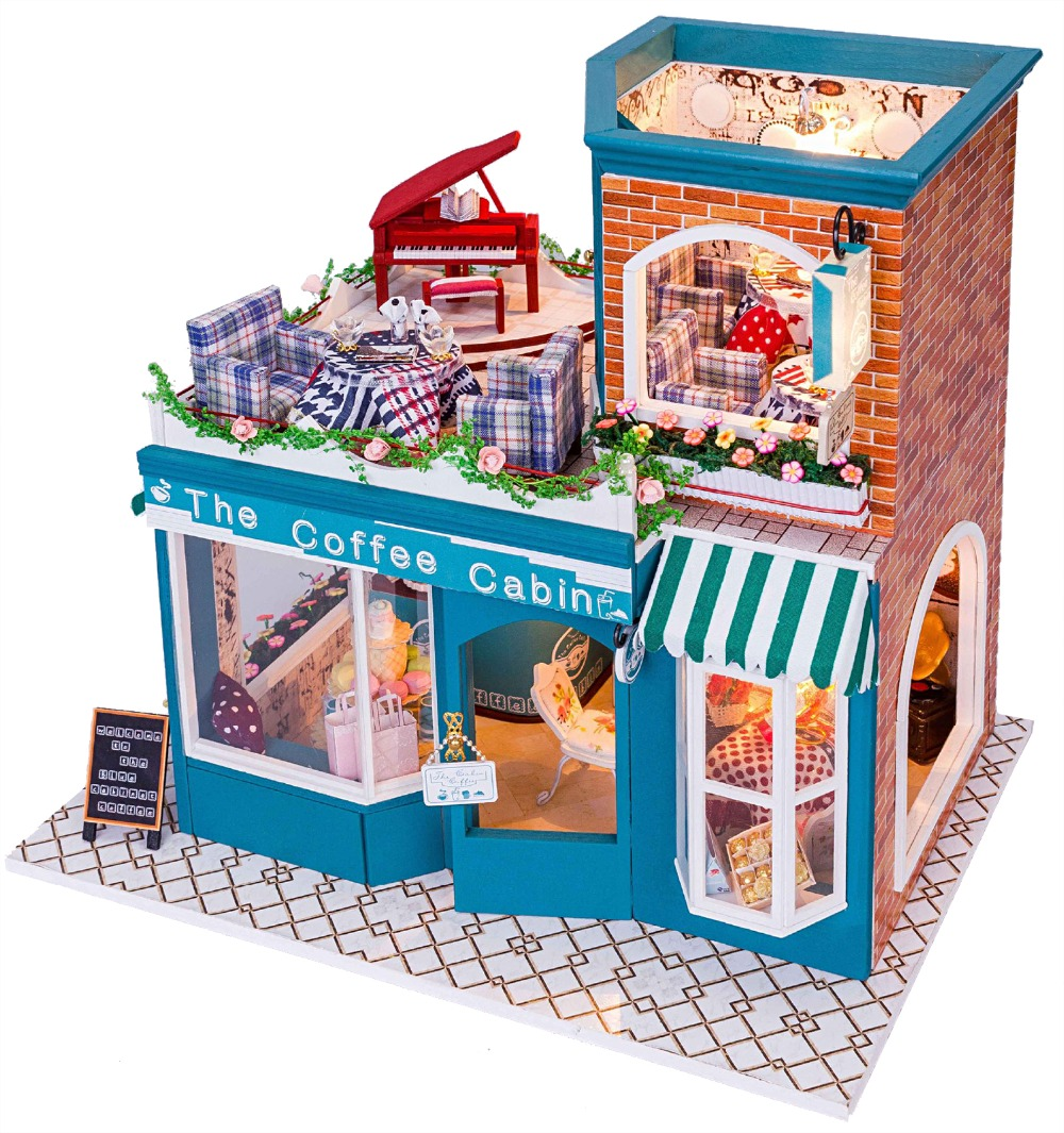 diy wooden doll house 3d handmade miniature music box. Black Bedroom Furniture Sets. Home Design Ideas