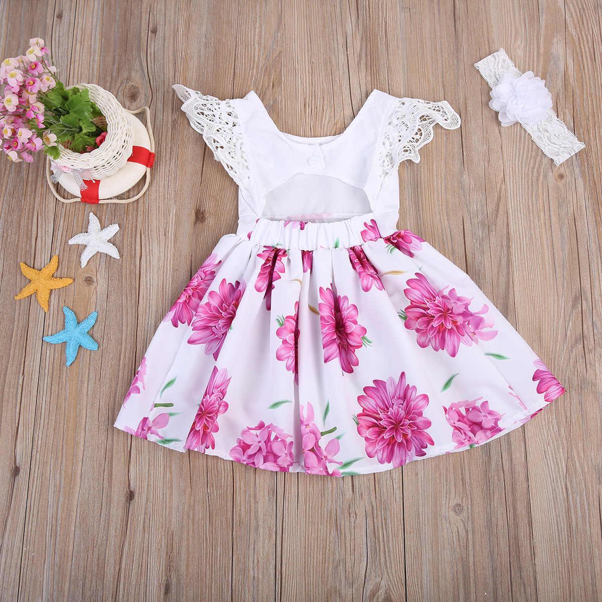 ファッション夏キッズ女の赤ちゃん花ドレスの王女かわいいドレスフライスリーブレース背中のパーティードレス