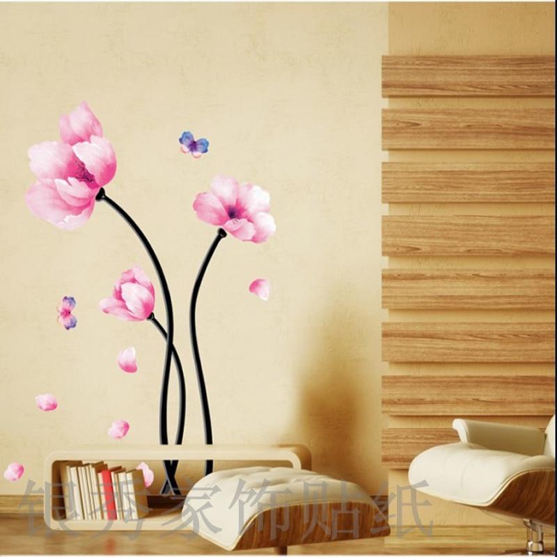 Pink Branch Pot Flower Vine Tree Wall Sticker Vinyl Home Decals Wall Decal Home Decortaion Wallpaper Kids Room Bedroom Wallpaper
