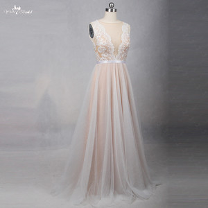 Image 2 - RSW1257 الوهم عودة العنق رخيصة بسيط فستان زفاف بيتش